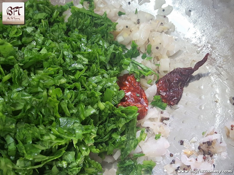 Making of Palak Coconut Bhaji
