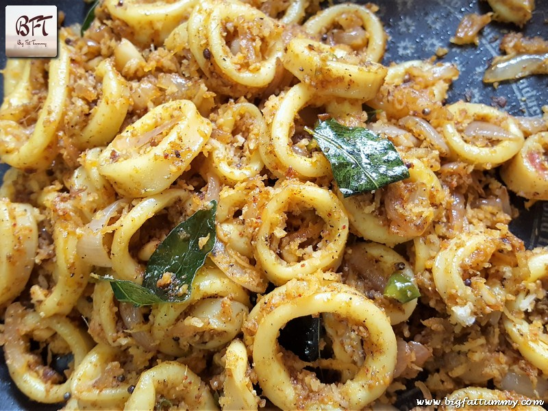 Preparation of Kerala Squid Coconut Stir Fry