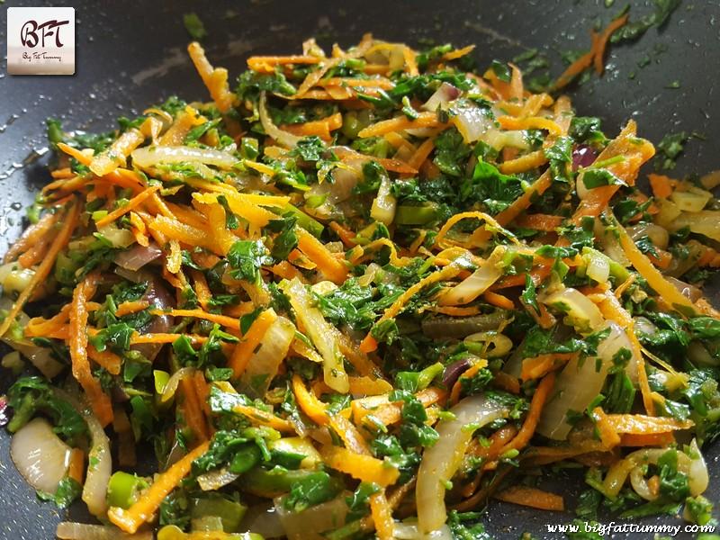 Preparation of Methi Carrot Stir Fry