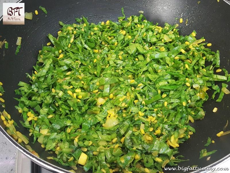 Preparation of Palak Moong Bhaji