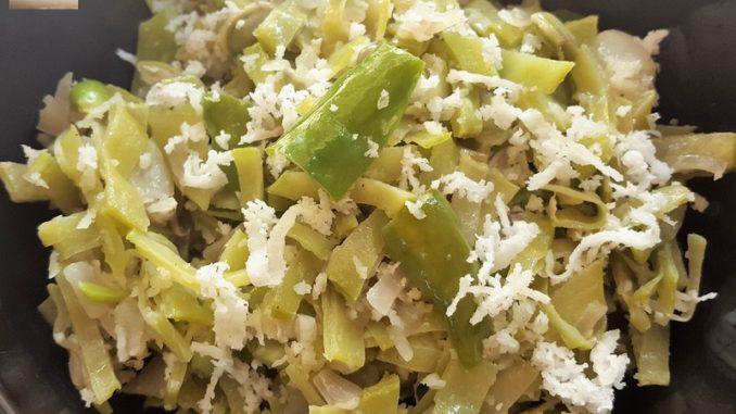 Flat Bean Foogath (dry veg prep)