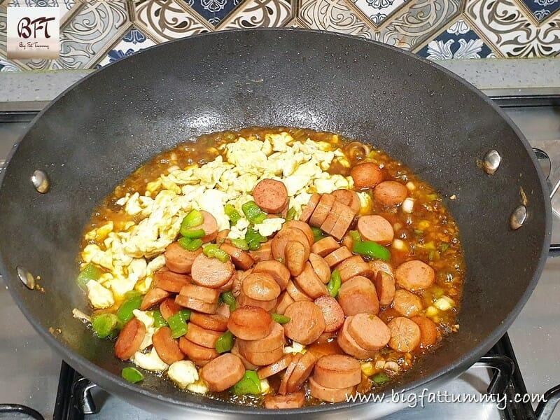 Preparation of Chicken Sausage Fried Rice