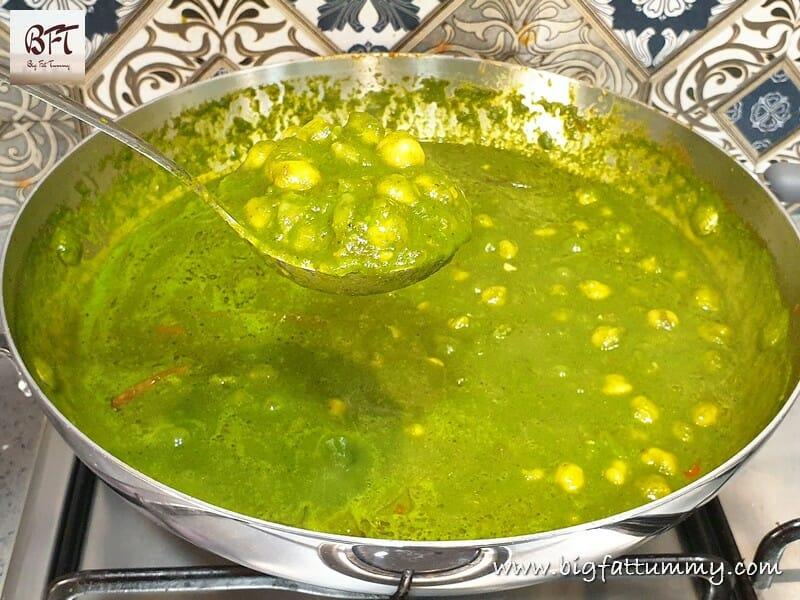 Preparation of Palak Chole
