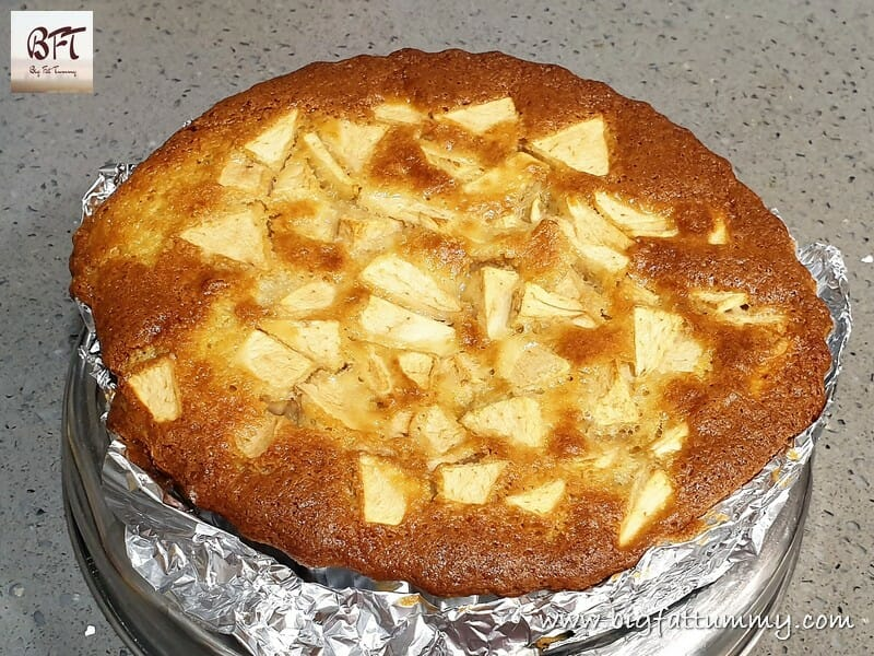 Preparation of Apple Cake with Custard Topping