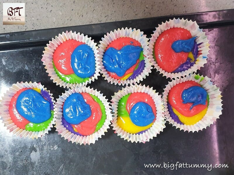 Eggless Rainbow Cupcakes